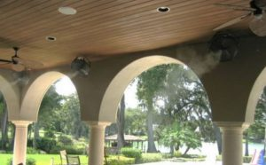 misting system by an outdoor ceiling